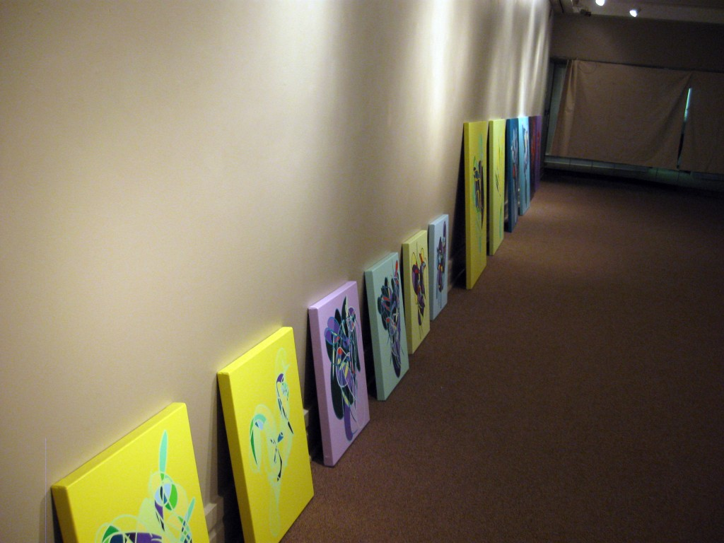10.06.11 Paintings spaced ready to hang