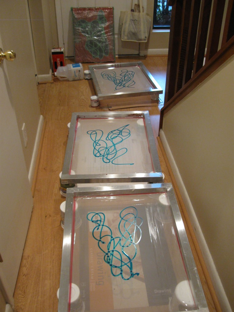 Screens drying in the hallway