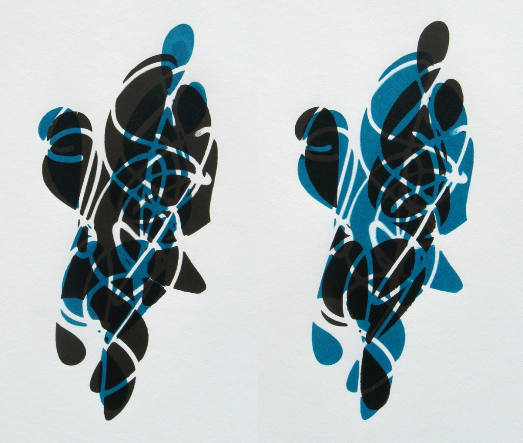 03-11-12 Two Figures in Raw Umber and Turquoise