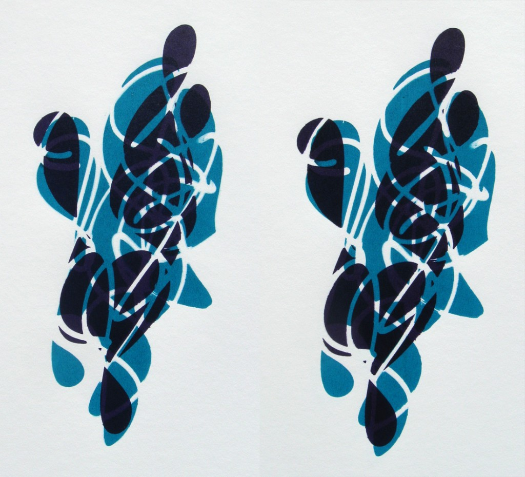 03-11-12 Two Figures in Purple and Turquoise