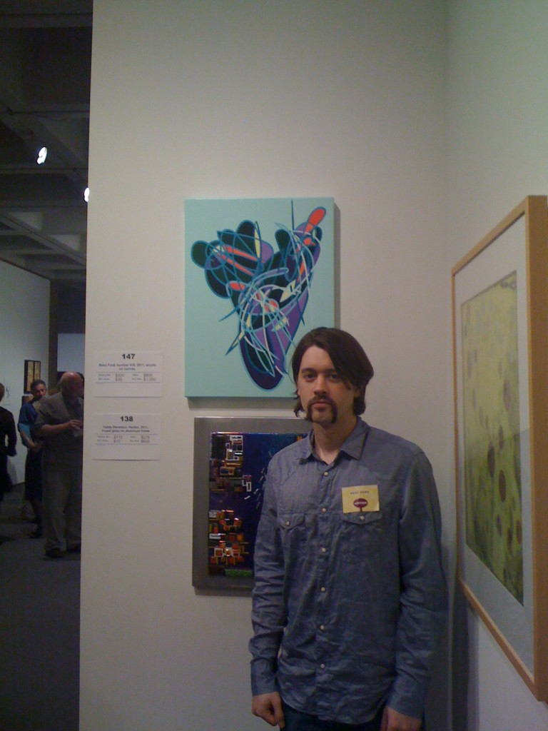 Me and my Mustache posing with my painting at the North Carolina Museum of Art